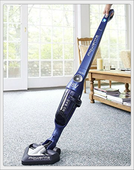 Rowenta RH8552 Delta Force Lightweight Cordless Bagless Cyclonic Energy Star Rated Stick Vacuum Cleaner Floor Carpet Functions, 18-Volt, Blue