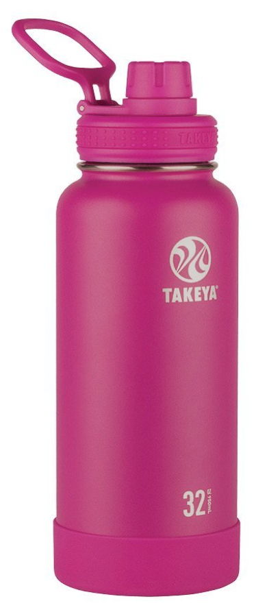 Takeya Actives Insulated Stainless Water Bottle with Insulated Spout Lid, 32oz, Fuchsia