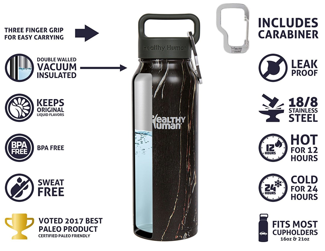 Healthy Human Insulated Stainless Steel Water Bottle Stein - Cold 24 Hours/Hot 12 Hours - Double Walled Vacuum Thermos Flask with Hydro Guide & Carabiner - 21 oz Black Onyx