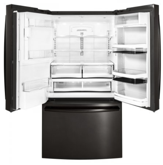 GE Profile PYE22PBLTS 36 Inch Counter Depth French Door Refrigerator with 27.8 cu. ft. Total Capacity in Black Stainless Steel